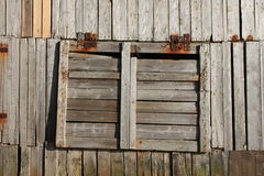 Window of abandoned fish factory of henningsvaer Royalty Free Stock Image