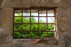 Window of abandoned house building. Royalty Free Stock Photos