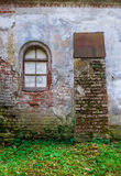 Window of an abandoned medieval manor. Window in the wall of an abandoned medieval manor Royalty Free Stock Photo