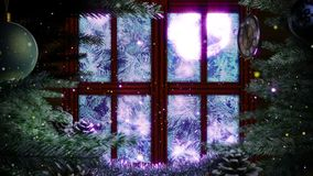 Window with abstract Christmas tree. Decorative animated background