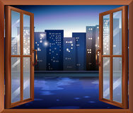 A window across the tall city buildings Royalty Free Stock Photography
