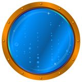 Window with air bubbles. Ship window - porthole with blue sea water and air bubbles Royalty Free Stock Photo