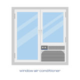 Window air conditioner.  vector image. Window air conditioner in a flat style for your design Stock Photos