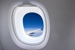 Window from airplane royalty free stock photos