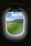 The window of airplane with travel destination attraction. Chian Stock Image