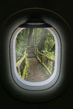 The window of airplane with travel destination attraction. Chian Royalty Free Stock Photos