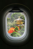 The window of airplane with travel destination attraction. Hongk Royalty Free Stock Photo