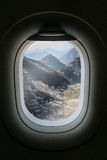 The window of airplane with travel destination attraction. Huang Royalty Free Stock Images