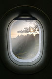 The window of airplane with travel destination attraction. Huang Stock Images
