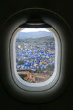 The window of airplane with travel destination attraction. Jodhp Royalty Free Stock Photography