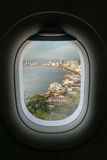 The window of airplane with travel destination attraction. Patta Stock Photos