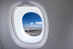 Window from airplane royalty free stock image