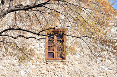 Window in the Alamo. Window of the side of the Alamo building in San Antonio, Texas Stock Photo