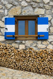 Window of an alpine refuge Royalty Free Stock Photography