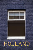 Window of an Amsterdam canal house with the text Holland Royalty Free Stock Photos