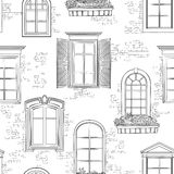 Window on ancient brick wall pattern. Architectural style windows doodle background Stock Photography