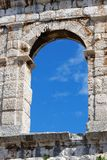 Window of ancient Roman amphitheater in Pula, Croatia Stock Image