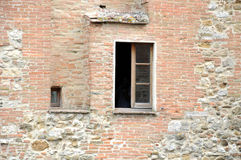 Window in ancient wall, perugia,italy Stock Photo