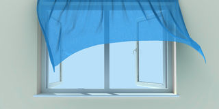 Window And Curtain Royalty Free Stock Photos