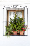 Window in Andalusian white villages in Spain Royalty Free Stock Photography