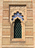 Window in the arabesque style Mudejar Pavilion, Seville, Andalusia, Spain. Stock Photos