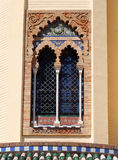 Window in the arabesque style Mudejar Pavilion, Seville, Andalusia, Spain. Royalty Free Stock Photography