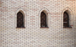 Window in the Arabic style. On the brick wall Royalty Free Stock Photos