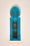 Window in arabic style on Djerba. Window at the White House photographed at Djerba-Tunisia, made in traditional Arabic style and painted in turquoise blue Stock Images