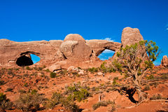 Window Arch in Arches National Park,Utah. Classic American Western Landscape in Arches National Park,Utah Royalty Free Stock Image