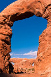 Window Arch in Arches National Park,Utah. Classic American Western Landscape in Arches National Park,Utah Royalty Free Stock Photography