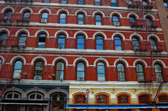 Window Array 4229. A charming juxtaposition of colors and window styles, SoHo, Manhattan Royalty Free Stock Images