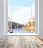 Window with autumn landscape view Royalty Free Stock Images
