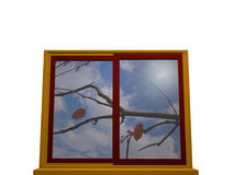 Window in autumn. With yellow-red window frame. 3d illustration Royalty Free Stock Images