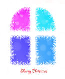 Window background of white winter snowflakes for christmas and n Royalty Free Stock Photo