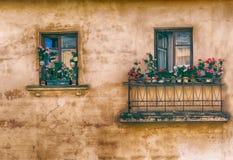 Window, balcony, flowers, retro Royalty Free Stock Photos