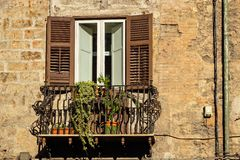 Window and balcony. Palermo, Sicily, Italy royalty free stock photography