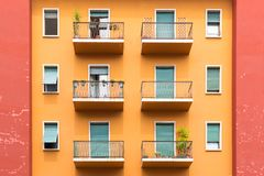 Window and balcony of typical old European residential building in Verona, Italy royalty free stock photo