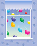 Window with balloons Stock Photos