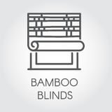 Window bamboo blinds icon in line style. Contour logo for different design needs. House or office decor concept. Vector Stock Photography