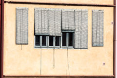 Window with bamboo curtains Stock Photo