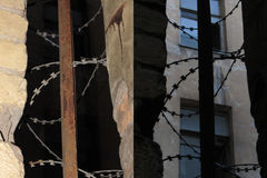The window with barbed wire Stock Photo