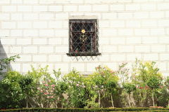 Window with bars behind garden Royalty Free Stock Photo