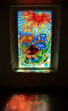 Window of Bartolomeu Dias Museum. The window of the Bartolomeu Dias Museum in Mossel Bay, South Africa. Bartolomeu Dias landing in Mossel Bay in 1488. The whole Royalty Free Stock Images