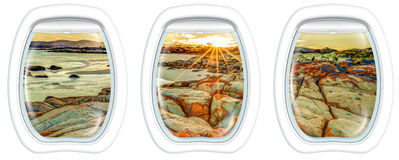 Window on Bay of Fires. Three plane windows on Bay of Fires, east coast of Tasmania in Australia, from a plane on the porthole windows. Copy space royalty free stock image