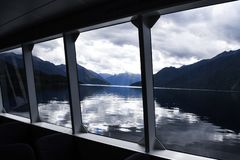 Window bay lake Milford Sound stock photo