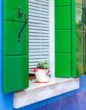 Window. Beautiful window Venice green blue heart, burano venice Stock Image