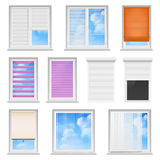 Window Blinds Colored Flat Set Stock Images