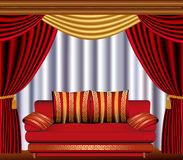 Window blinds with cyst and sofa Royalty Free Stock Photos