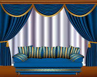 Window blinds with cyst and sofa Royalty Free Stock Photo