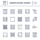 Window blinds, shades line icons. Various room darkening decoration, roller shutters, roman curtains, horizontal and royalty free illustration
